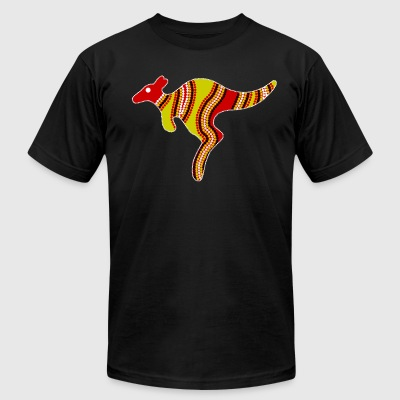 Aboriginal Art Kangaroo - Authentic Aboriginal Art - Men's T-Shirt by American Apparel