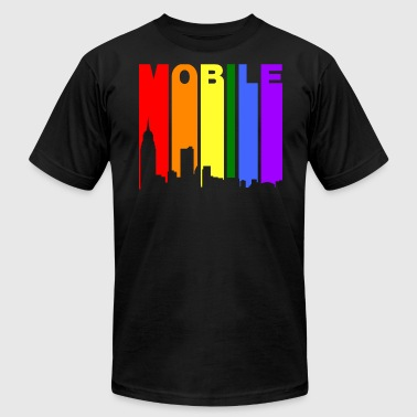 Mobile Alabama Gay Pride Rainbow Skyline - Men's Fine Jersey T-Shirt