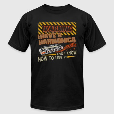 Warning I Have A Harmonica Shirts - Men's T-Shirt by American Apparel