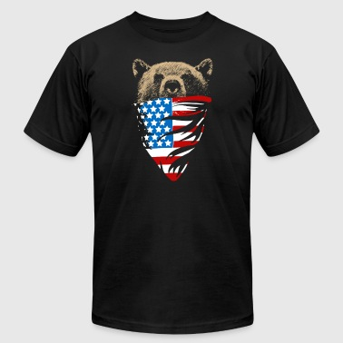 Grizzly bear with american bandana flag - Men's Fine Jersey T-Shirt