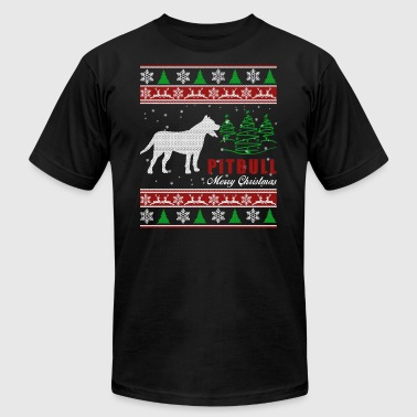 Pitbull Shirt - Pitbull Christmas Shirt - Men's T-Shirt by American Apparel