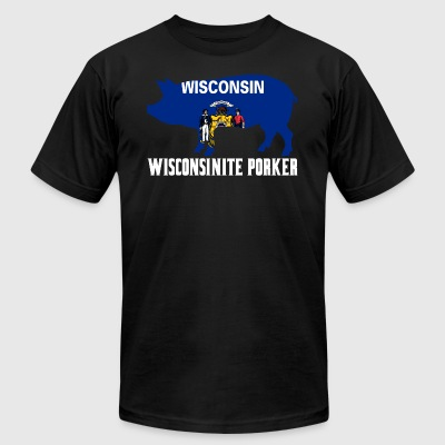 Wisconsinite Porker State Flag Pig Pork BBQ - Men's T-Shirt by American Apparel