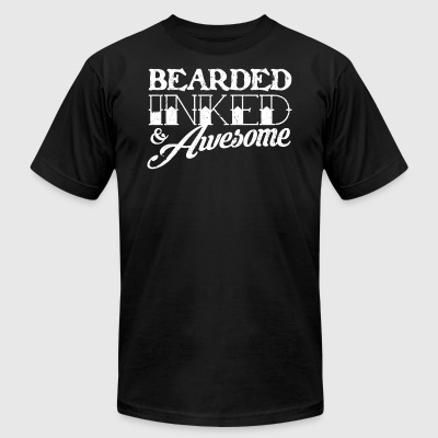 Bearded Inked Awesome - Men's T-Shirt by American Apparel