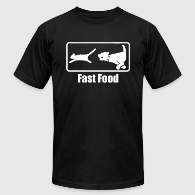 Fast Food Dog Chasing Cat - Men's T-Shirt by American Apparel