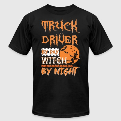 Truck Driver By Day Witch By Night Halloween - Men's T-Shirt by American Apparel