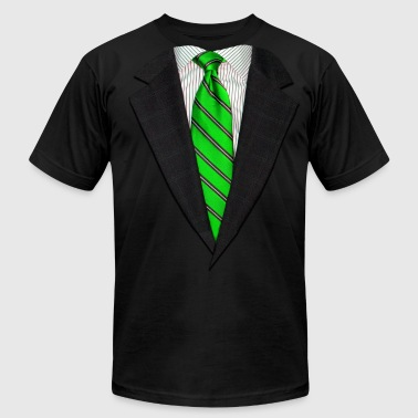 Realistic Suit and Neck Tie Green - Men's Fine Jersey T-Shirt