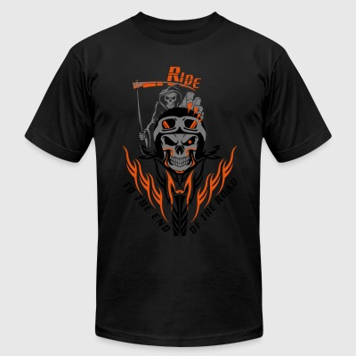 Biker Reaper Ride To The End Of The Road - Men's T-Shirt by American Apparel