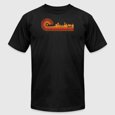 Retro Style Newark New Jersey Skyline Distressed - Men's T-Shirt by American Apparel