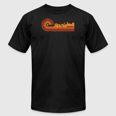 Retro Style Harrisburg Pennsylvania Skyline - Men's T-Shirt by American Apparel