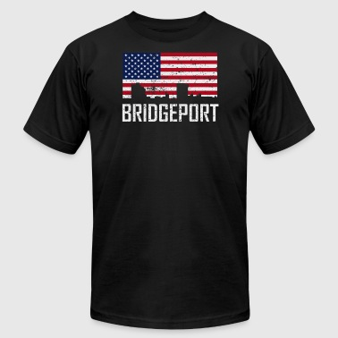 Bridgeport Connecticut Skyline American Flag - Men's T-Shirt by American Apparel
