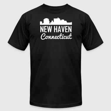 New Haven Connecticut Skyline - Men's Fine Jersey T-Shirt