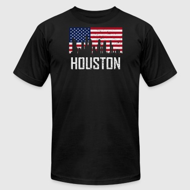 Houston Texas Skyline American Flag Distressed - Men's Fine Jersey T-Shirt