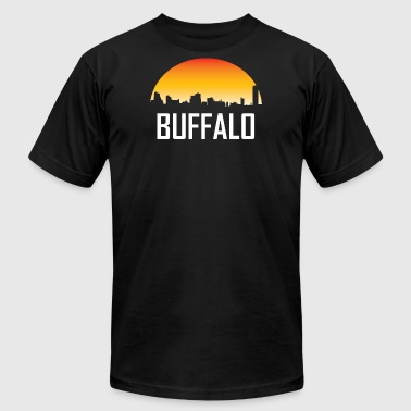 Buffalo New York Sunset Skyline - Men's Fine Jersey T-Shirt
