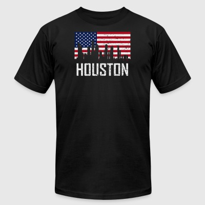 Houston Texas Skyline American Flag Distressed - Men's T-Shirt by American Apparel