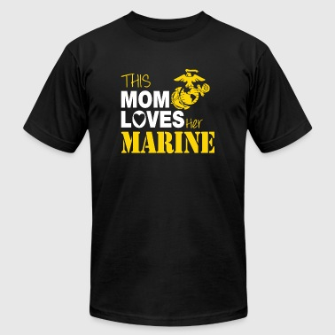 Marine - This Mom Loves Her Marine - Men's Fine Jersey T-Shirt