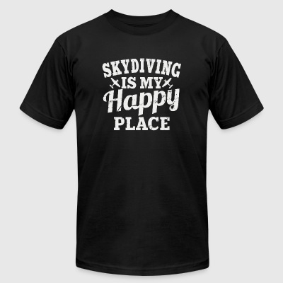 Skydiving Skydiving Is My Happy Place - Men's T-Shirt by American Apparel