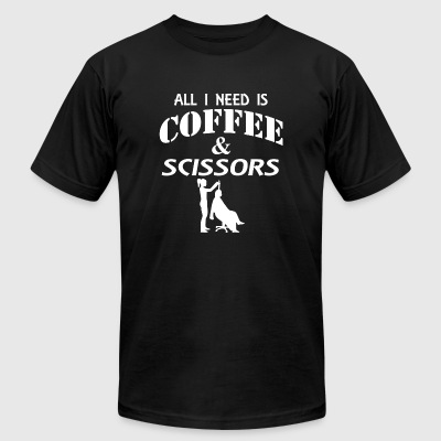 Scissors - all i need is coffee and scissors - Men's T-Shirt by American Apparel