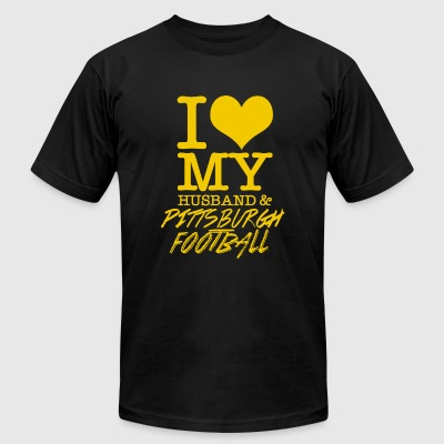Pittsburgh - I Love My Husband & pittsburgh Foot - Men's T-Shirt by American Apparel