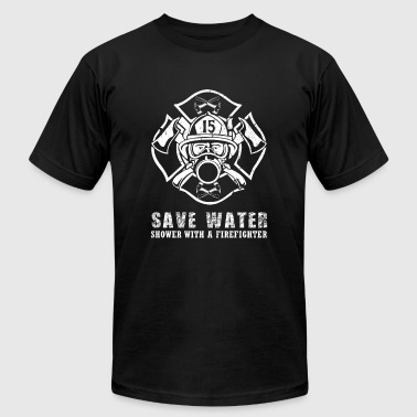 Firefighter - save water shower with a firefight - Men's T-Shirt by American Apparel