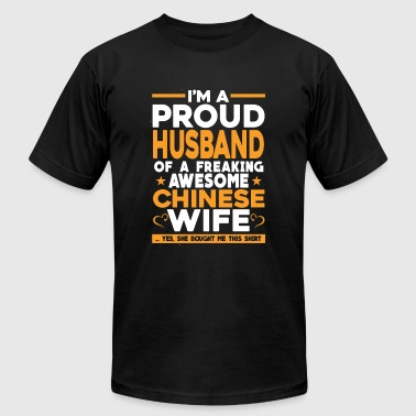Freaking awesome Chinese wife - Proud husband - Men's T-Shirt by American Apparel
