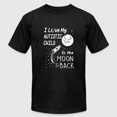 I love my autistic child to the moon back - Men's Fine Jersey T-Shirt