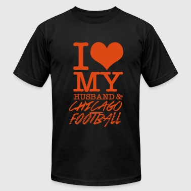 Chicago - I Love My Husband & Chicago Football - Men's T-Shirt by American Apparel