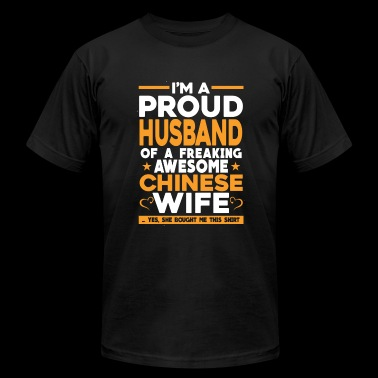 Freaking awesome Chinese wife - Proud husband - Men's Fine Jersey T-Shirt