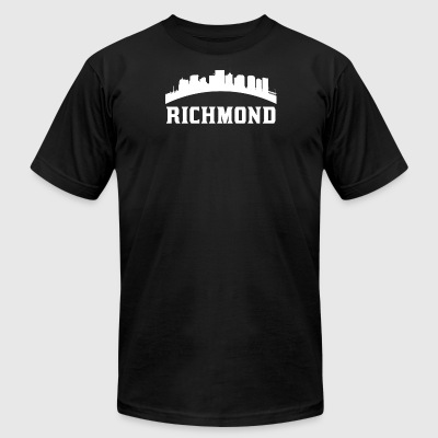 Vintage Style Skyline Of Richmond VA - Men's T-Shirt by American Apparel
