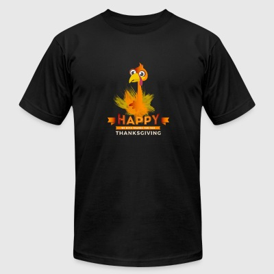 thanksgiving dinner cute turkey happy thanks LOL - Men's T-Shirt by American Apparel