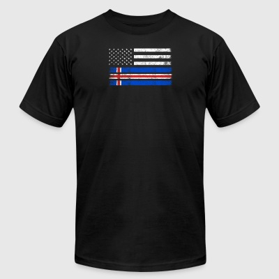 Icelander American Flag - USA Iceland Shirt - Men's T-Shirt by American Apparel