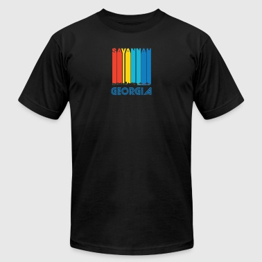 Retro Savannah Georgia Skyline - Men's T-Shirt by American Apparel