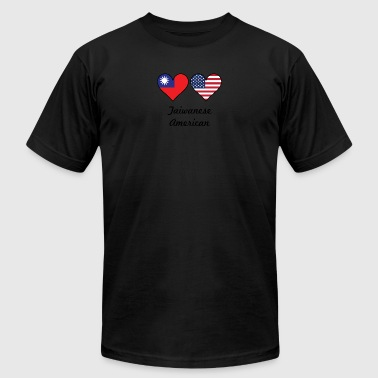 Taiwanese American Flag Hearts - Men's T-Shirt by American Apparel