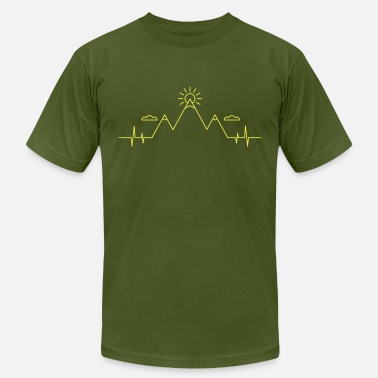 Mountain Beat Mountains Heartbeat - My Heart beats Mountains - Men's  Jersey T-Shirt