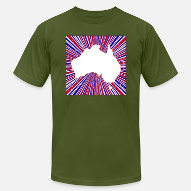 Red White And Blue Rays With Silhouette Map Of Aus - Men's Jersey T-Shirt