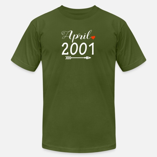 18th Birthday T-Shirts - Arrow Heart April 2001 - Men's Jersey T-Shirt olive