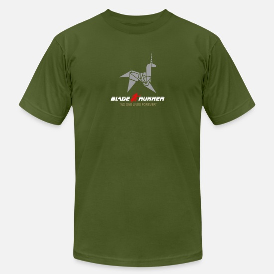 Game T-Shirts - BLADE RUNNER ORIGAMI UNICORN RETRO 80 s CLASSIC - Men's Jersey T-Shirt olive