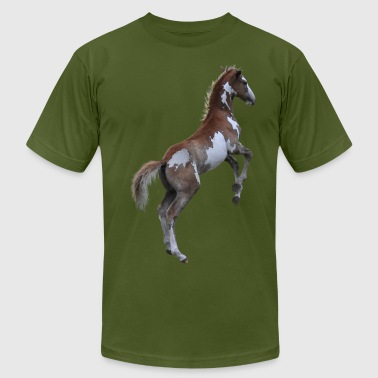Rearing Pinto Pony, Horse - Men's Fine Jersey T-Shirt