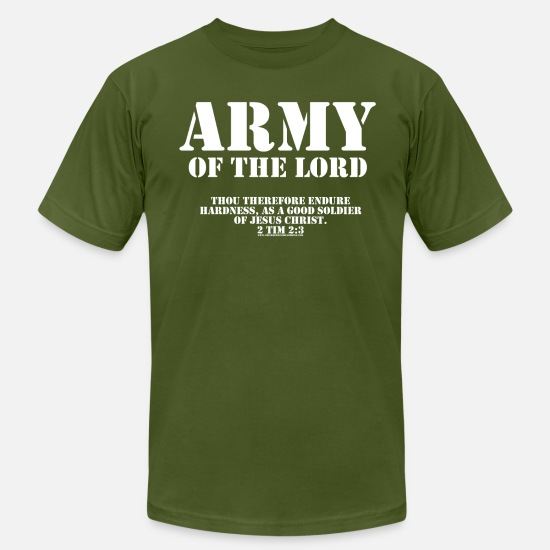 Christian T-Shirts - Army of the Lord, Christian T-Shirts with Bible Ve - Men's Jersey T-Shirt olive