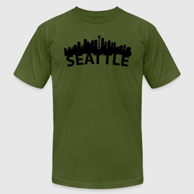 Seattle Wa Arc Skyline Of Seattle WA - Men's Fine Jersey T-Shirt
