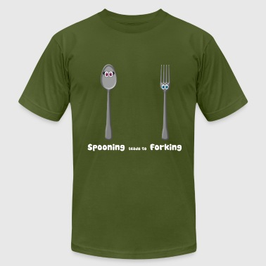Spooning leads to Forking - Men's Fine Jersey T-Shirt