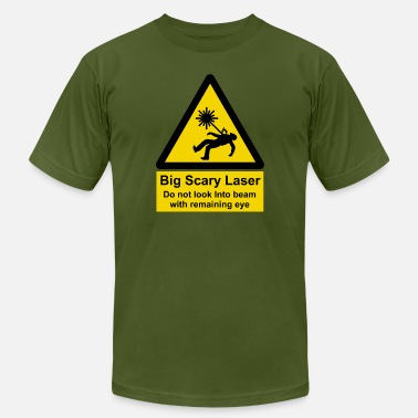Laser Warning Sign Big Scary Laser - Men's  Jersey T-Shirt