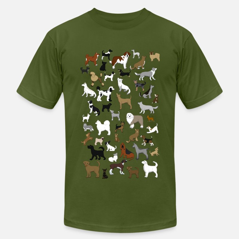 Dog T-Shirts - many dogs pixel - Men's Jersey T-Shirt olive
