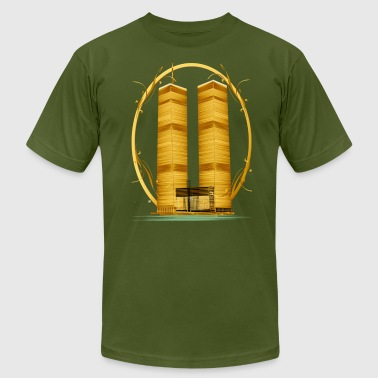 Gold Twin Towers  - Men's Fine Jersey T-Shirt