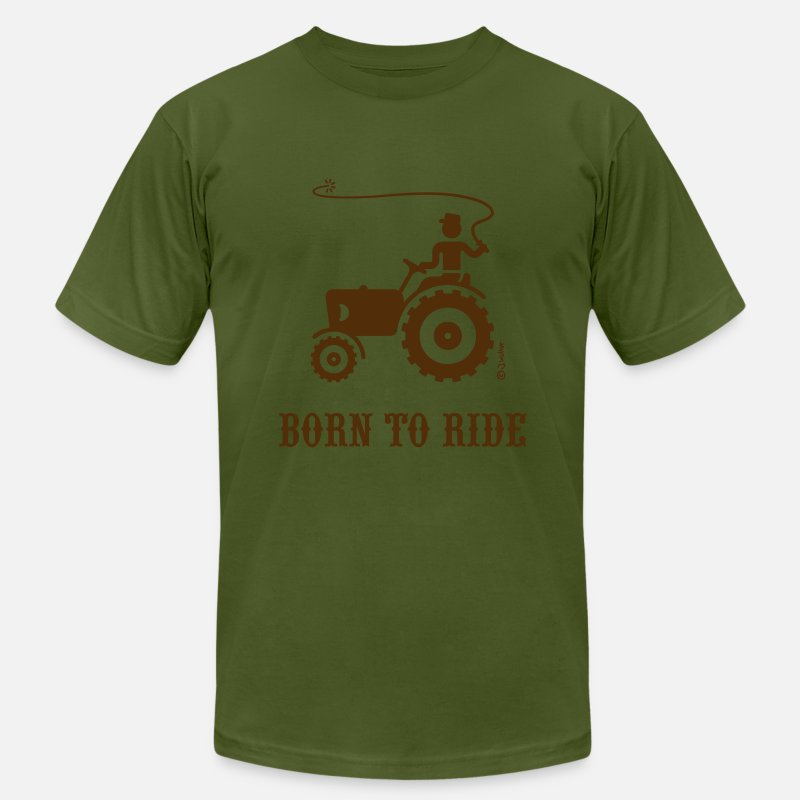 Hill Billy T-Shirts - Born To Ride (Tractor) - Men's Jersey T-Shirt olive
