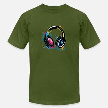 Stylish stylish Graffiti Headphones - Men's  Jersey T-Shirt