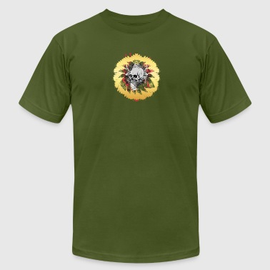 Circle Of Death Skull design with a yellow circle - Men's Fine Jersey T-Shirt