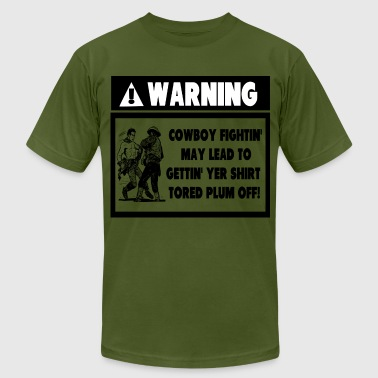 Warning Label for Cowboy Fights - Men's Fine Jersey T-Shirt