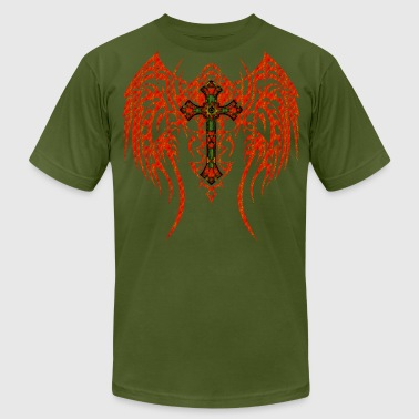 TRIBAL WING CROSS RED GR - Men's Fine Jersey T-Shirt