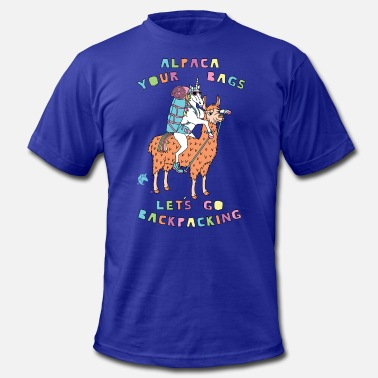 Backpacker Unicorn Alpaca Your Bags Let s Go Backpacking Unicorn - Men's  Jersey T-Shirt