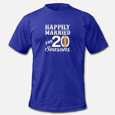 20th Wedding Anniversary 20th Wedding Anniversary Football Season - Men's Fine Jersey T-Shirt